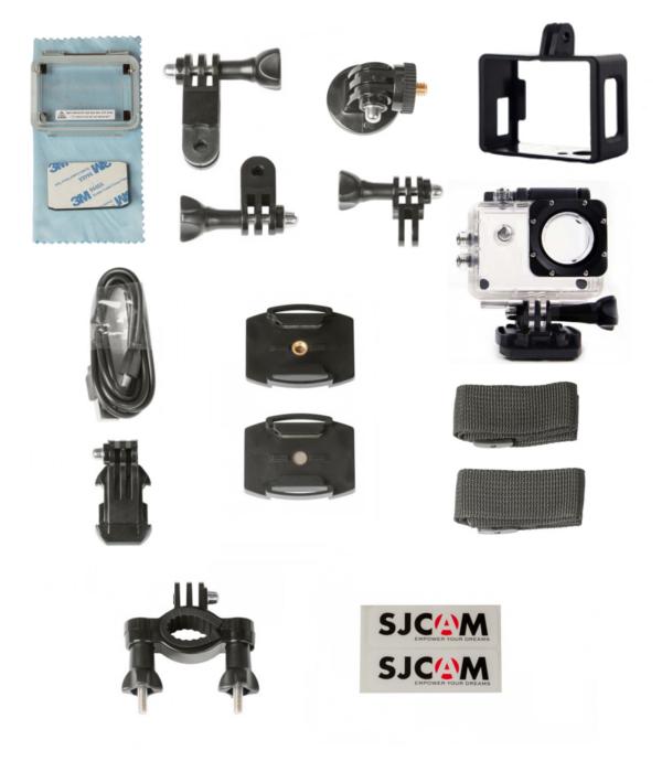 Akcesoria dołączone do kamery sportowej SJCAM SJ4000WiFi