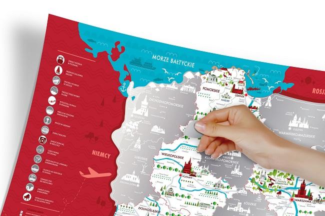 Mapka Zdrapka Polska - oznaczanie zwiedzonych miejsc