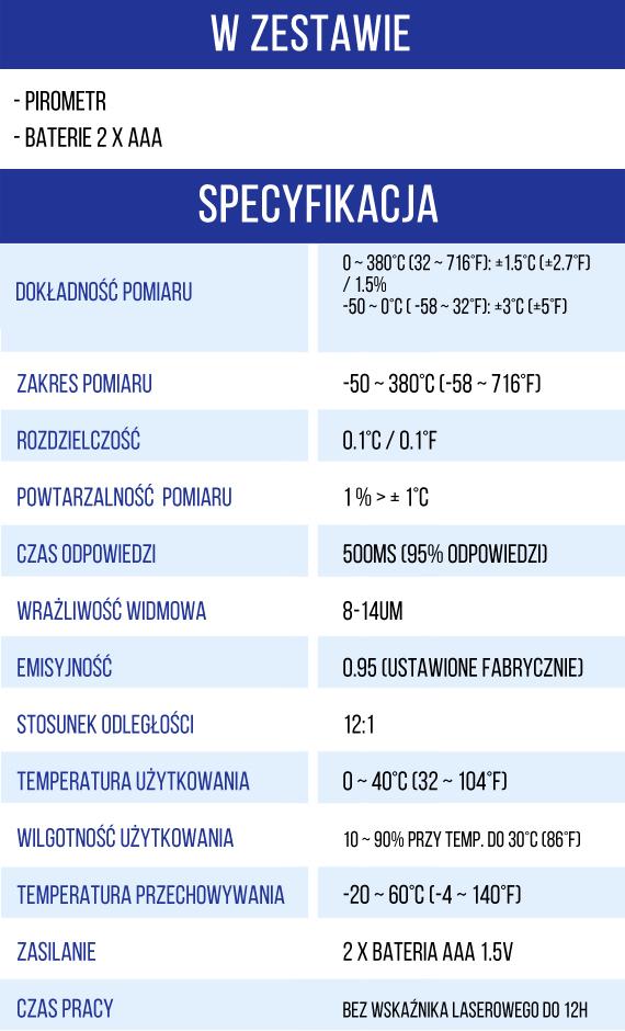Pirometr -specyfikacja